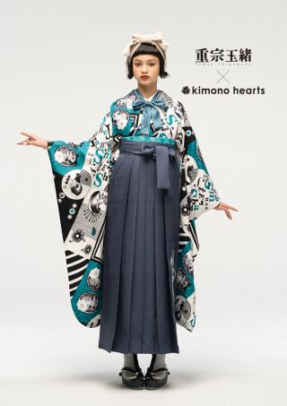 No.5898 亀甲松鶴刺繍/濃いグレー