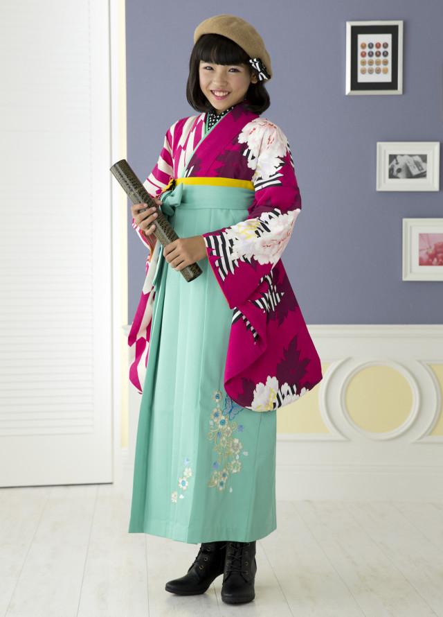 ショッキングピンク矢がすり牡丹の衣装画像1
