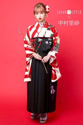 No.167 JAPAN STYLE×中村理砂 新作振袖スタイル(赤白×黒袴)