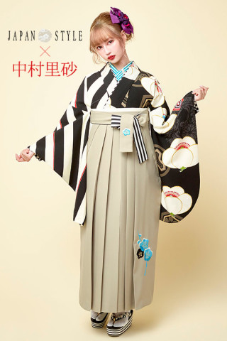 No.2851 JAPAN STYLE×中村理砂 新作振袖スタイル(白黒×ベージュ)