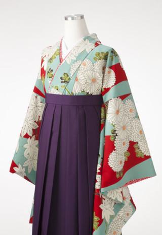 No.1856 【九重】 水色×赤のレトロモダンなデザイン