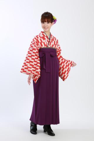 No.872 【小振袖】赤矢絣(12,000円)【袴】紫無地(8,000円)※ともに税抜き価格