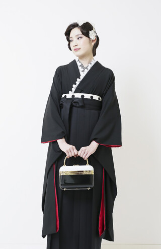 No.5610 黒無地着物振袖×黒袴なでしこ200
