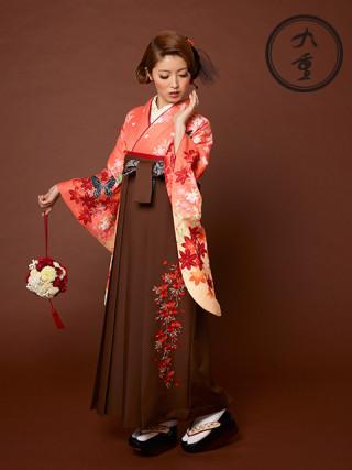 No.532 2013年 九重 卒業袴新作 橙 オレンジ