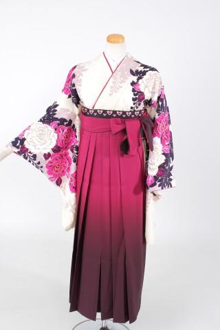 No.1088 着物/白 袴/赤紫グラデーション