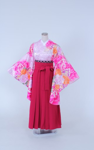 No.1089 着物/ピンク 袴/赤紫