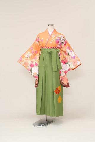 No.1122 着物/オレンジ 袴/グリーン