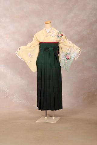 No.2053 着物/黄色 袴/緑グラデーション
