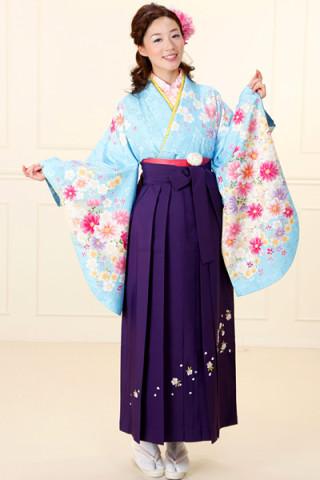 No.683 水色地の花柄着物&紫刺繍袴