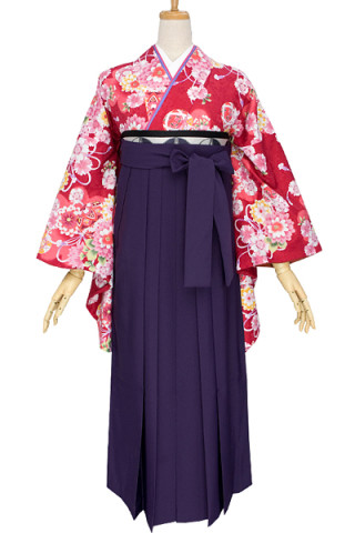 No.692 赤地に菊桜と毬柄着物&紫無地袴