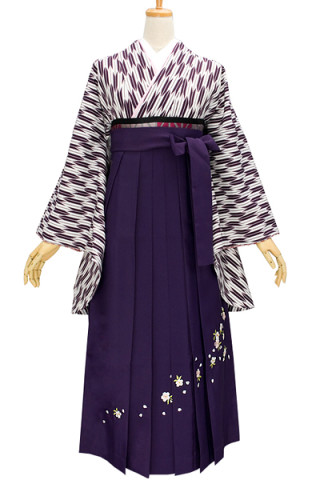 No.695 レトロハイカラな紫矢羽柄着物&紫刺繍袴