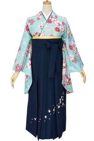 No.697 水色地の毬と和花柄着物&紺刺繍袴