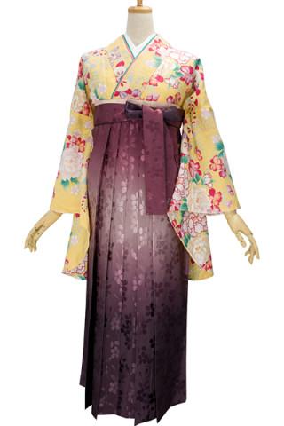 No.704 黄色地の可愛い牡丹柄着物&アンティークピンクぼかしの桜地紋袴