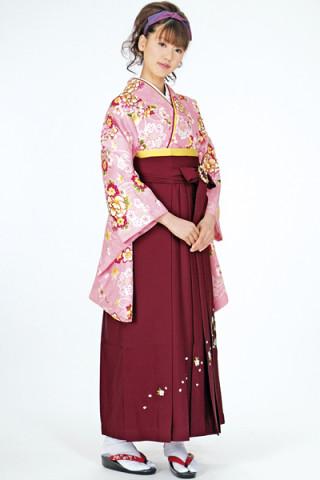 No.752 ピンク地桜牡丹の花柄着物&エンジ刺繍袴
