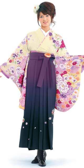 No.6444 【卒業時装】着物919A1クリームボカシ/華牡丹&女袴395_240紫・黒/ボカシししゅう