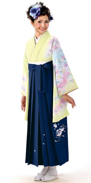 No.6451 【卒業時装】着物811A1レモン/虹桜&女袴371_245紺/手まりししゅう