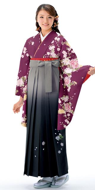 No.6462 【卒業時装】着物721A1紫/レトロ桜菊&女袴396_245グレー/ボカシししゅう