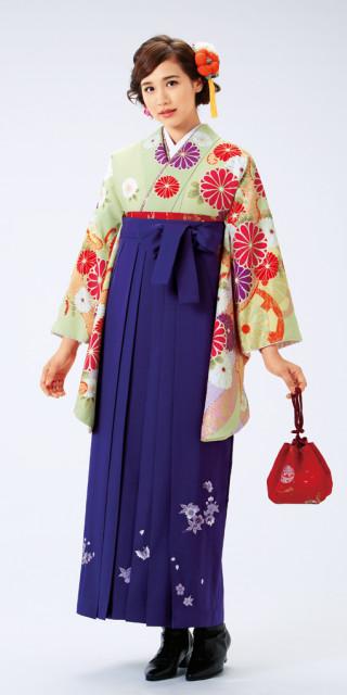 【卒業時装】着物922うぐいす/大菊*はかま375紫/桜蝶ししゅう