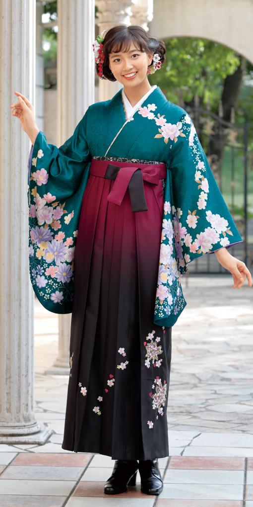 【卒業時装】着物802グリーン/藤色洋花*はかま398ワイン・黒/ボカシししゅうの衣装画像1