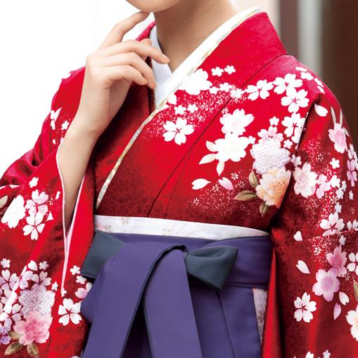 【卒業時装】着物837赤/桜チラシ*はかま395紫・黒/ボカシししゅうの衣装画像2