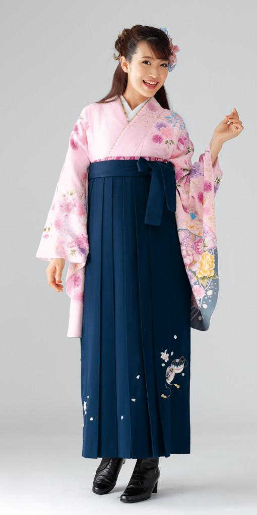 【卒業時装】着物916ピンク/牡丹扇*はかま371紺/手まりししゅうの衣装画像1