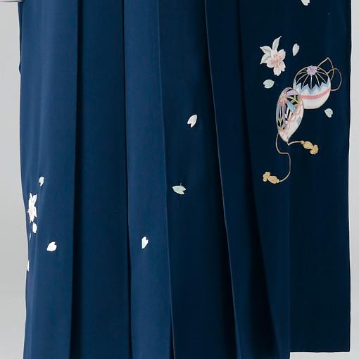 【卒業時装】着物916ピンク/牡丹扇*はかま371紺/手まりししゅうの衣装画像3