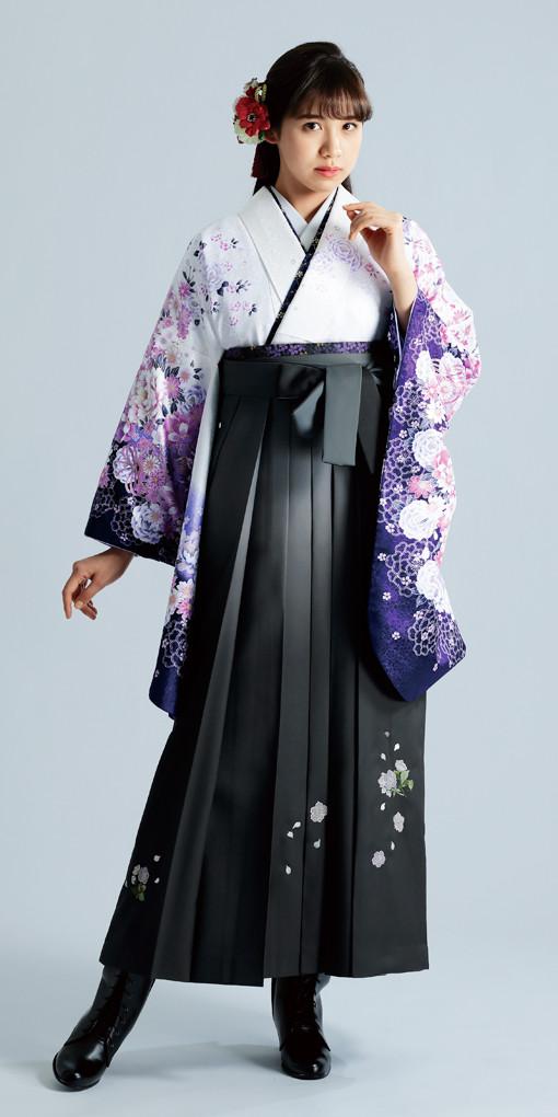 【卒業時装】着物904白/藤ボタン*はかま396グレー/ボカシししゅうの衣装画像1