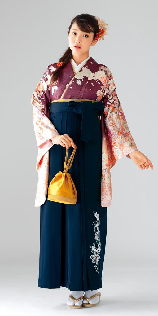【卒業時装】着物915エビ茶/藤牡丹*はかま377紺/スズランししゅうの衣装画像1