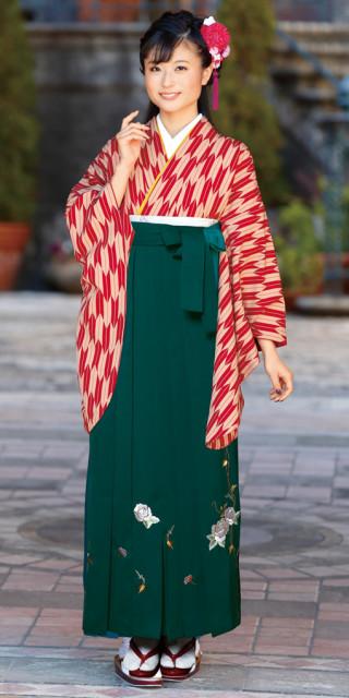 【卒業時装】着物654赤・ベージュ/矢がすり*はかま372グリーン/つるバラししゅう