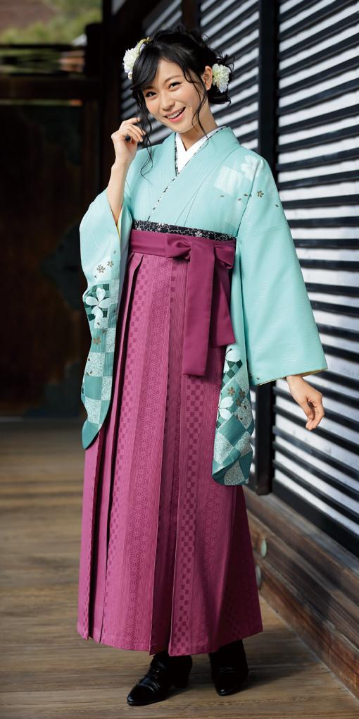【卒業時装】着物710ミント/花市松*はかま405ワイン/たて柄の衣装画像1