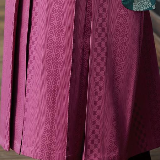 【卒業時装】着物710ミント/花市松*はかま405ワイン/たて柄の衣装画像3