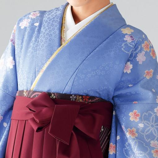 【卒業時装】着物816水色/桜しぼり*はかま376エンジ/桜蝶ししゅうの衣装画像2