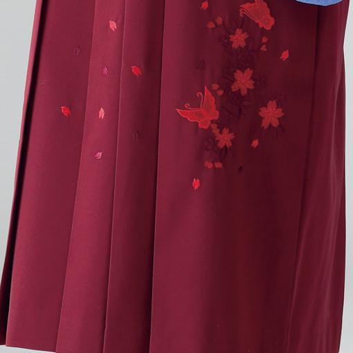 【卒業時装】着物816水色/桜しぼり*はかま376エンジ/桜蝶ししゅうの衣装画像3