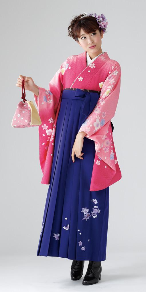 【卒業時装】着物815ピンクボカシ/いろ桜*はかま375紫/桜蝶ししゅうの衣装画像1