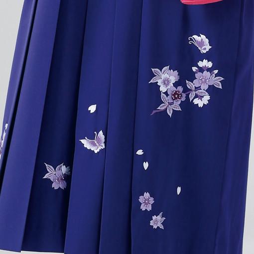 【卒業時装】着物815ピンクボカシ/いろ桜*はかま375紫/桜蝶ししゅうの衣装画像3