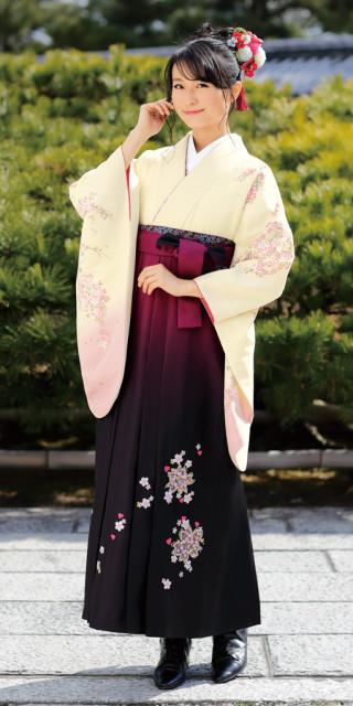 No.1561 【卒業時装】着物807クリーム/千代桜*はかま398ワイン・黒/ボカシししゅう