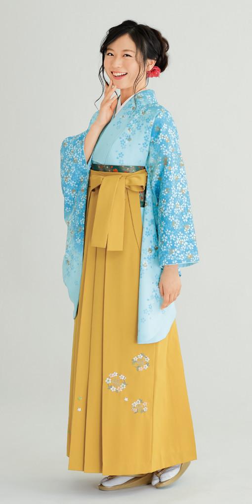 【卒業時装】着物801ブルー/花吹雪*はかま379カラシ/花輪ししゅうの衣装画像1