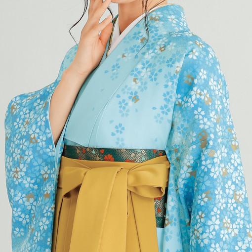 【卒業時装】着物801ブルー/花吹雪*はかま379カラシ/花輪ししゅうの衣装画像2