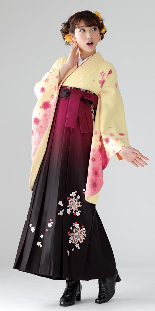 【卒業時装】着物767クリーム/舞桜*はかま398ワイン・黒/ボカシししゅうの衣装画像1