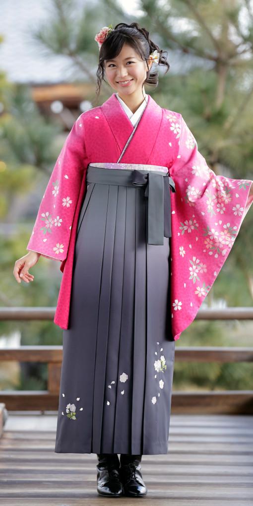 【卒業時装】着物819ワイン/桜つづれ*はかま396グレー/ボカシししゅうの衣装画像1