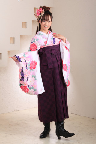 No.1005 白紫&市松模様袴フルセット