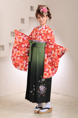 No.1011 桜赤&緑ぼかし袴フルセット