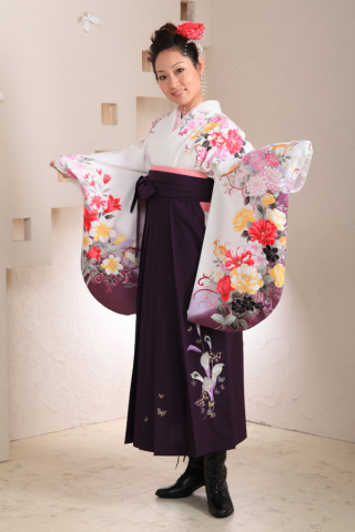 No.1012 白地花柄&紫袴フルセット