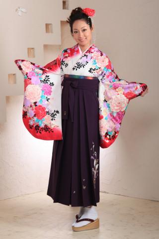 No.1017 赤白バラ柄袴フルセット