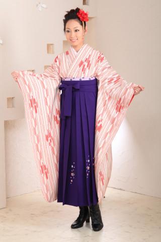 No.1020 正絹矢がすり振袖&紫袴フルセット
