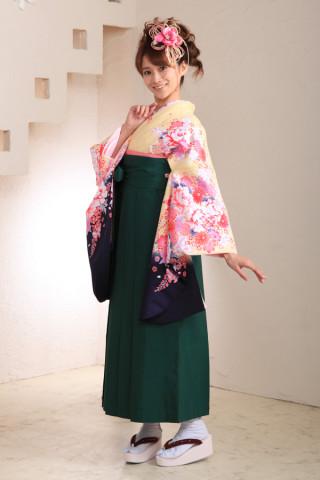 No.1027 クリーム&深緑袴フルセット