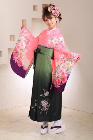 No.1029 ピンク&深緑袴フルセット