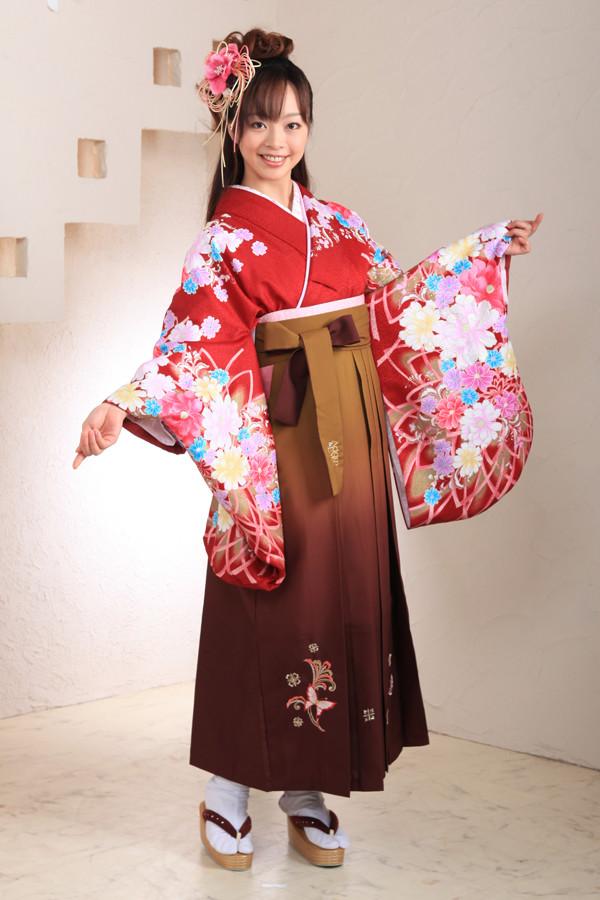 エンジ花柄袴フルセットの衣装画像1