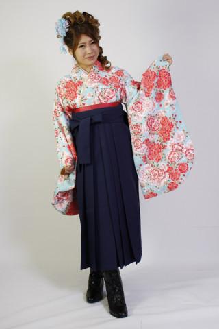 No.1033 桜柄水色&紺袴フルセット