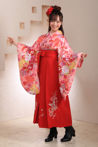 No.1036 ピンク&赤袴フルセット